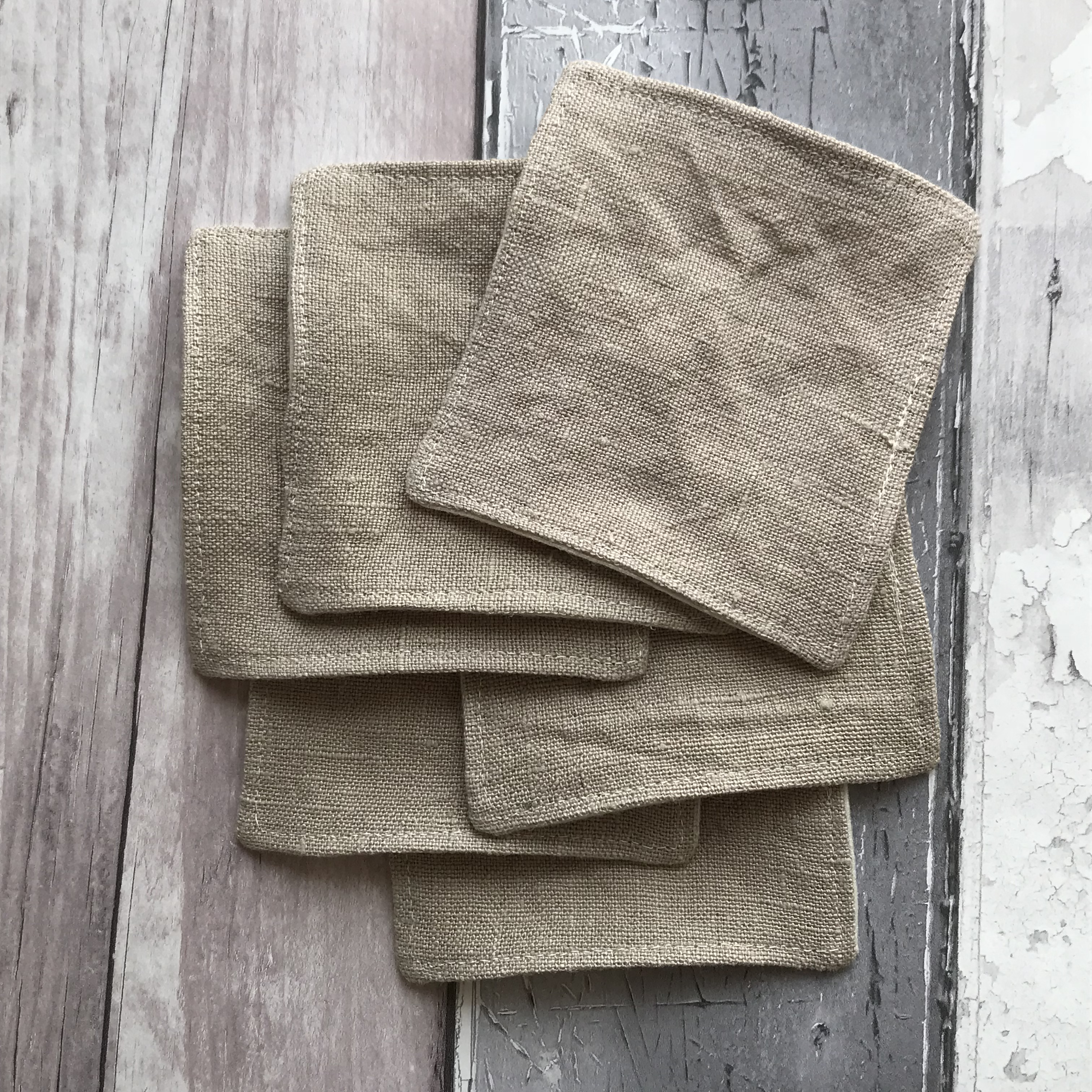 Organic Cotton and Natural Linen Makeup Remover Pads, Handmade Haven