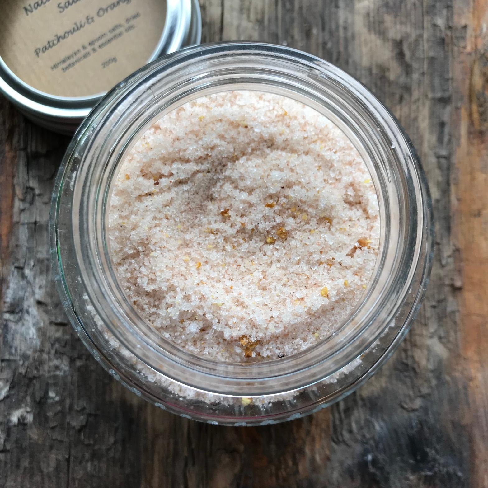 Handmade Haven Natural Bath Salts, Patchouli and Orange, 200g Glass Kilner Jar