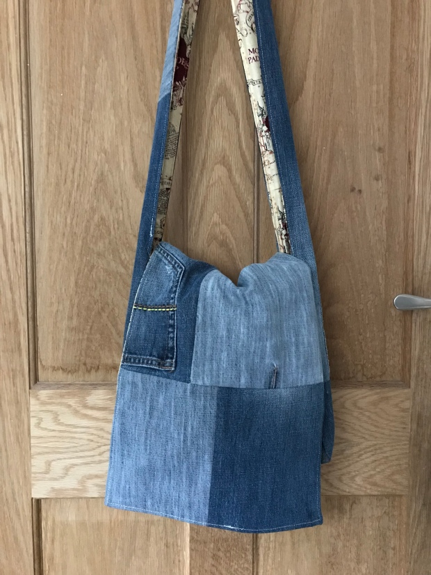 Handmade haven messenger bag, made with repurposed jeans
