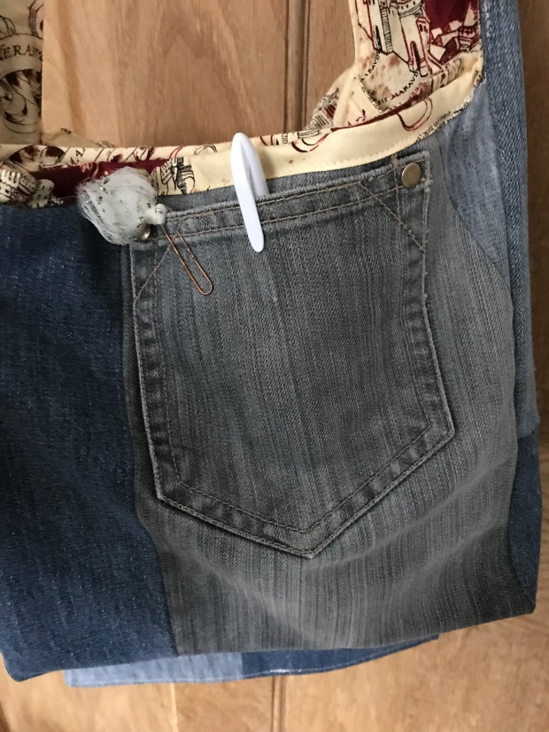 Handmade haven messenger bag, made from repurposed jeans with handy pocket