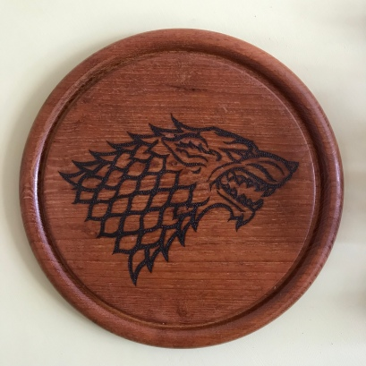 Handmade Haven, Sylvan Stories Pyrographer, House Stark, dot work pyrography