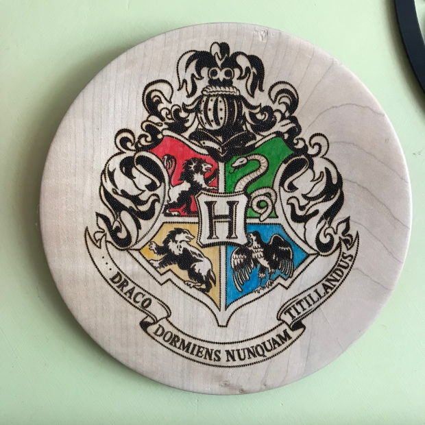 Handmade Haven, Sylvan Stories Pyrographer, Hogwarts Crest, paint and dot work pyrography