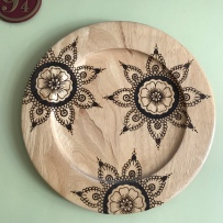 Handmade Haven, Sylvan Stories Pyrographer, Floral Plate, dot work pyrography