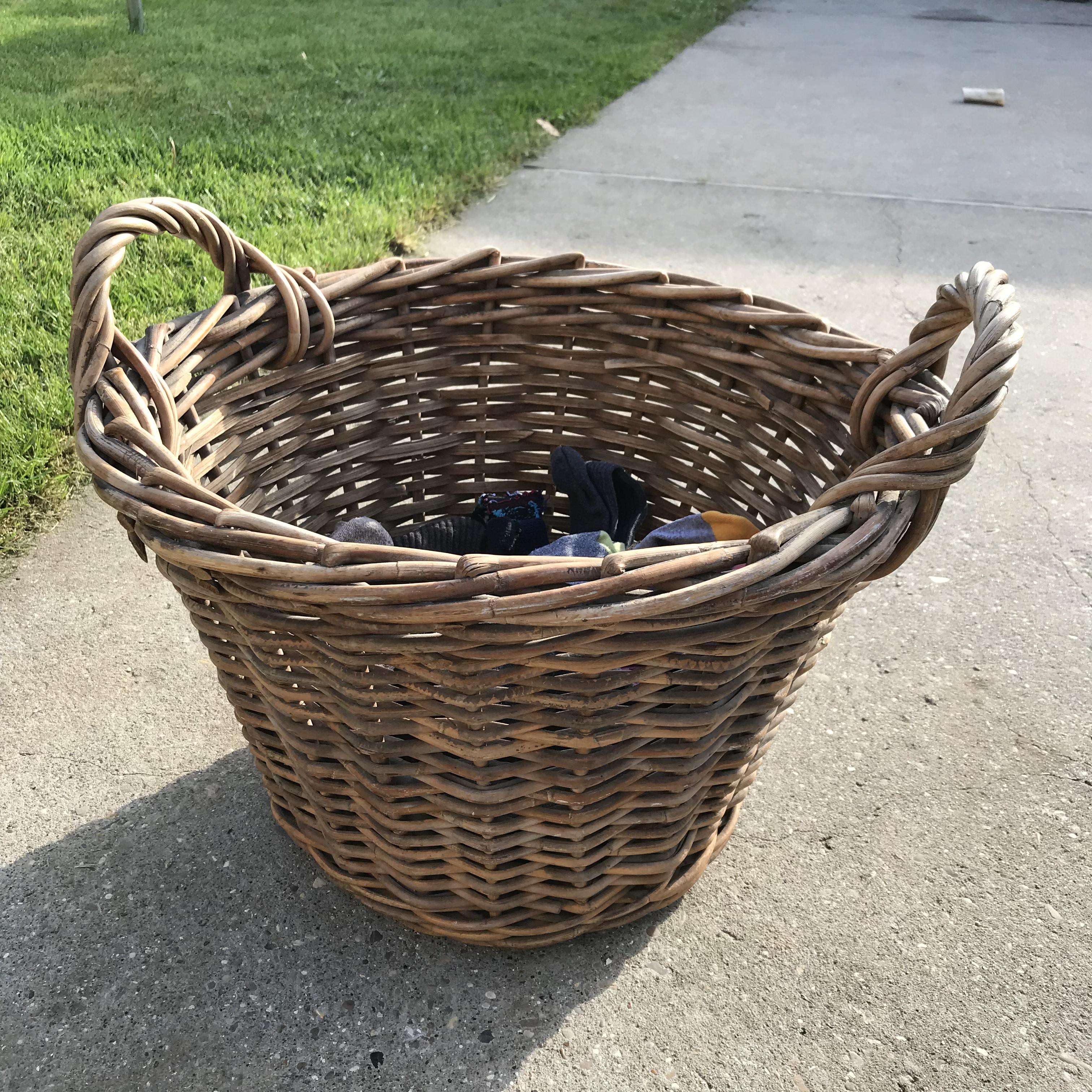 Handmade Haven, re-purposed fishermen's basket, laundry basket
